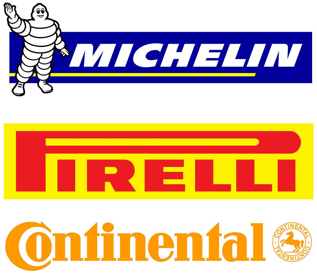 ミシュラン、ピレリ、コンチネンタルのタイヤ